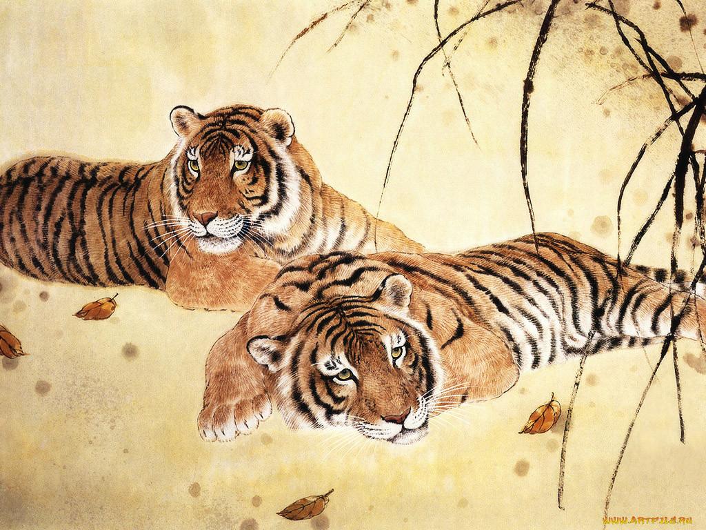рисунки животные тигр модели столешницей стекла